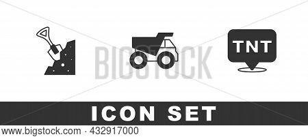 Set Shovel And Stone, Mining Dump Truck And Dynamite Icon. Vector
