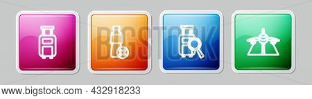 Set Line Suitcase, No Water Bottle, Lost Baggage And Plane. Colorful Square Button. Vector