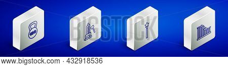 Set Isometric Line Weight, Striker Attraction With Hammer, Magic Wand And Roller Coaster Icon. Vecto