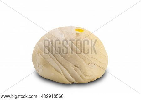 Single Chinese Pastry Or Moon Cake Filled With Mashed Mung Bean And Salted Egg Yolk On White Backgro