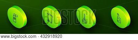 Set Isometric Line Air Freshener Spray Bottle, Trash Can, Handle Broom And Dishwashing Liquid Icon.