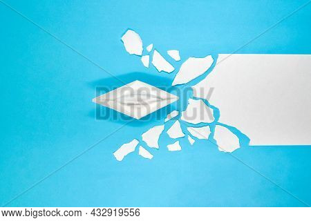 The Paper Ship As A Symbol Of Business (people), Overcomes On Its Way The Problems (ice Jams), Such