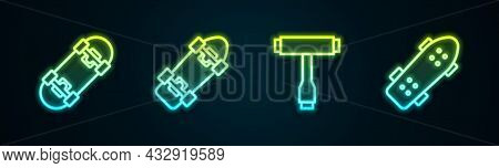 Set Line Skateboard, , T Tool And . Glowing Neon Icon. Vector