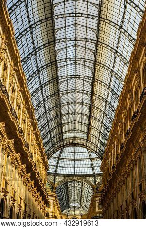 View Of Vittorio Emanuele Gallery In Milano Downtown