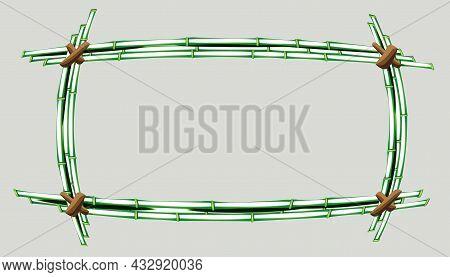 Silhouette Rectangular Frame From Green Bamboo, Design Element.