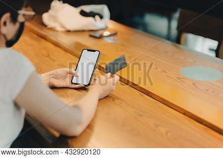 Woman In Protective Mask Hand With Glove Press Screen On Printer Machine