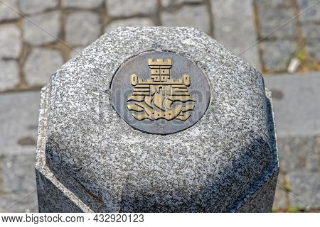 Belgrade, Serbia - August 08, 2021: Bronze Sign At Bollard Belgrade City Coat Of Arms.