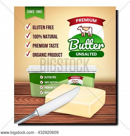 Butter Organic Product Promotion Banner Vector. Butter Blank Packaging And Knife Kitchen Utensil On