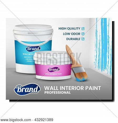 Wall Interior Paint Creative Promo Poster Vector. Brush And Plastic Blank Container Of Professional