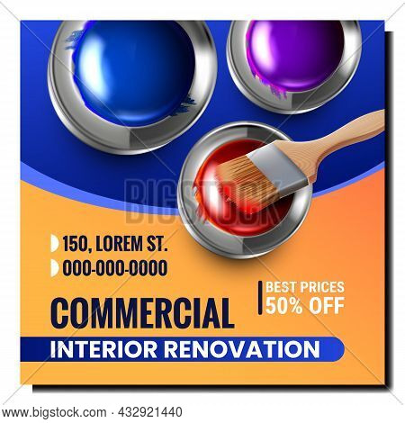 Commercial Interior Renovation Promo Poster Vector. Brush And Multicolored Paint Blank Metal Bottles