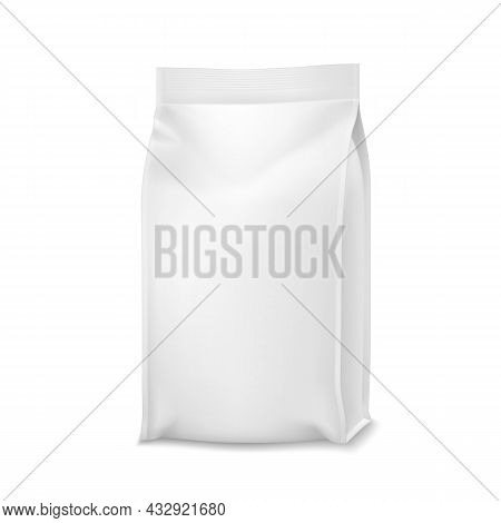 Pet Food Product Blank Paper Bag Package Vector. Foil Pouch Packaging Eatery Pet Food For Feeding Do