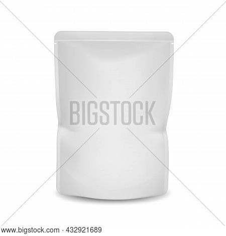 Pet Food Product Blank Pouch Bag Package Vector. Sachet Packaging Pet Food For Feeding Domestic Anim