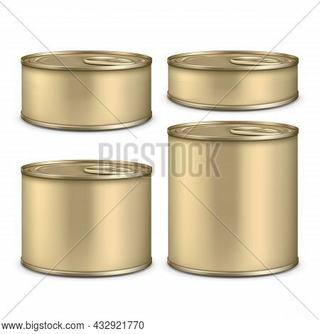 Blank Metallic Tin Can For Canned Food Set Vector. Preserved Nutrition Fish And Meat, Vegetable And