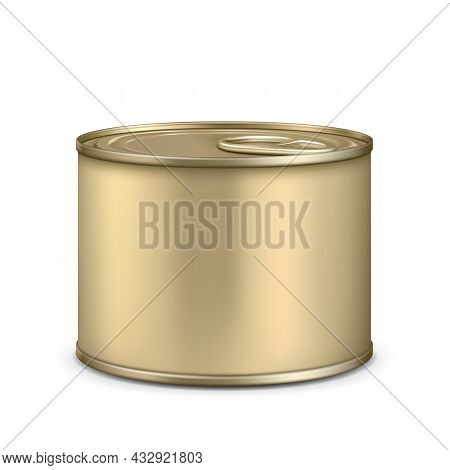 Blank Metallic Tin Can For Cooked Meat Vector. Preserved Prepared Chicken, Beef Or Pork Food In Stai