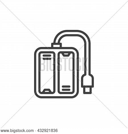 Battery Charger Line Icon. Linear Style Sign For Mobile Concept And Web Design. Usb Charger Outline