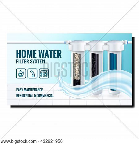 Home Water Filter System Promotional Poster Vector. Water Filter System And Liquid Splash On Adverti