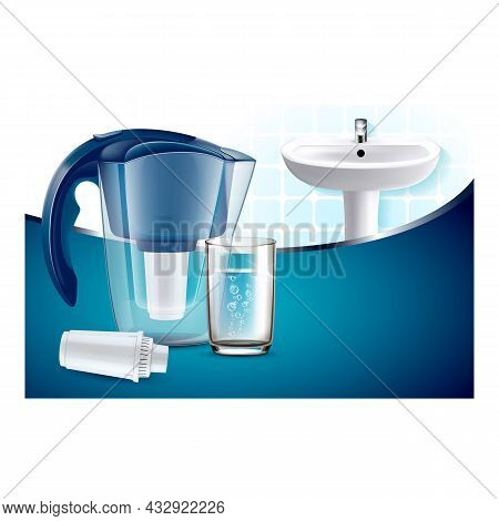 Water Filter Pitcher Creative Promo Poster Vector. Blank Water Filter Container, Glass With Natural