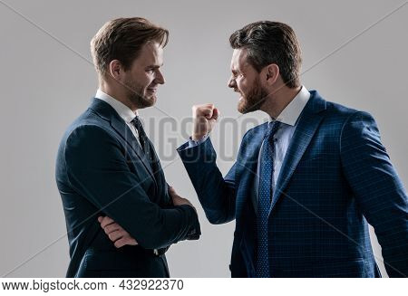 Disagreed Men Partners Or Colleague Disputing Aggressive And Angry While Conflict, Disagreement.