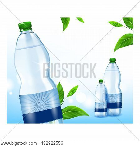 Water For Children Creative Promo Poster Vector. Blank Water Bottle For Kids And Natural Green Leave
