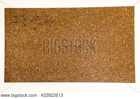 The Background Is Made Of Brown Cork With Embedded Buttons, A Bulletin Board. Backgrounds Design Tex