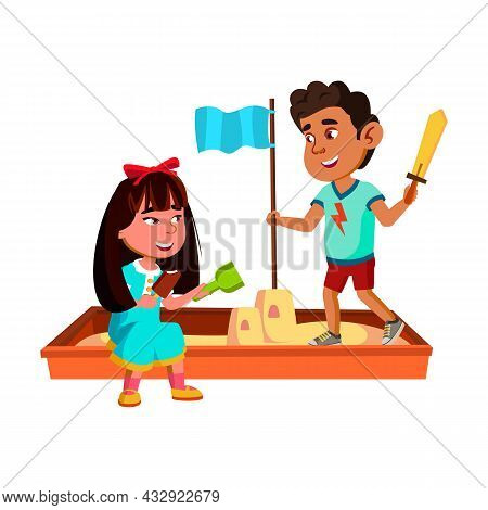 Boy And Girl Children Playing In Sandbox Vector. Hispanic Guy And Asian Lady Kids Eating Ice Cream A