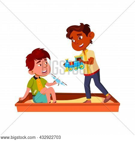 Boys Children Playing In Sandbox Together Vector. Asian And Indian Guys Kids Play With Drone And Tra