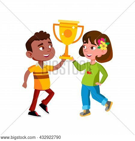 Boy And Girl Children Holding Award Cup Vector. African Guy And Caucasian Lady Kids Hold Golden Mug