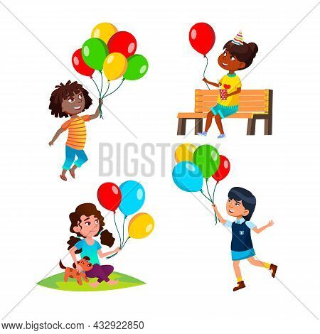 Girls Children Playing With Balloon Set Vector. Ladies Kids Play With Air Balloon And Dog Pet In Par
