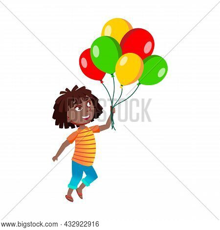 Girl Walk With Air Balloons Bunch Outside Vector. African Lady Child Walking With Multicolored Heliu