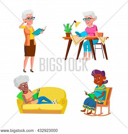 Old Woman Reading And Enjoying Book Set Vector. Pensioner Lady Standing And Sitting In Rocking Chair