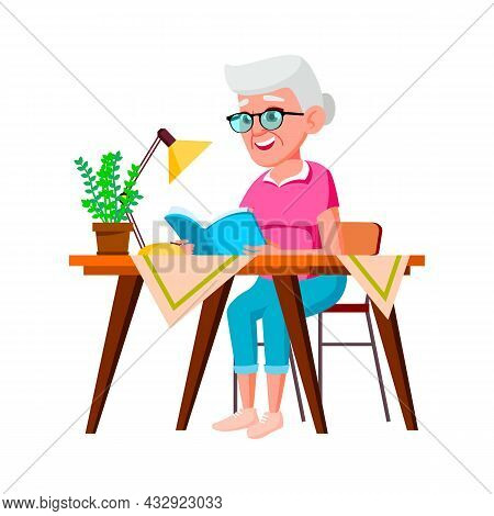 Old Woman Sitting At Table And Reading Book Vector. Smiling Elderly Lady Sit At Desk And Read Educat