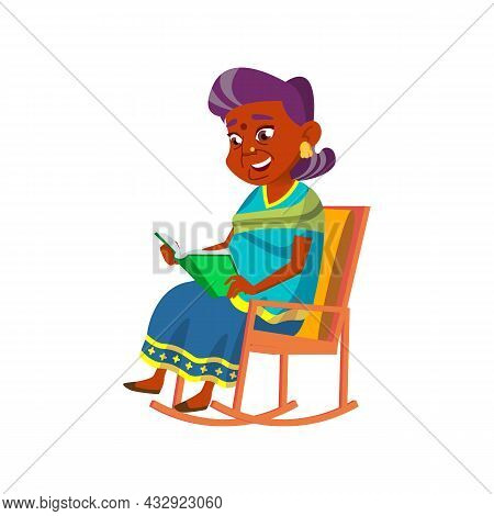 Old Woman Sit In Rocking Chair And Reading Vector. Indian Elderly Lady Reading Funny Story Book. Cha