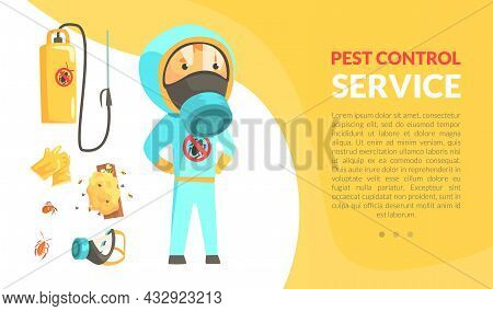 Insect Control And Disinfestation Service With Man In Protective Outfit Engaged In Bug Extermination