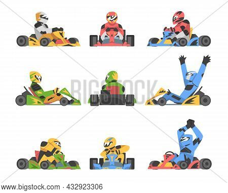 Kart Racing Or Karting With Man Racer In Open Wheel Car Engaged In Motorsport Road Extreme Driving V
