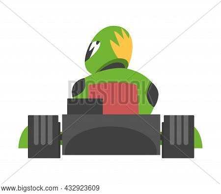 Kart Racing Or Karting With Man Racer In Open Wheel Car Engaged In Motorsport Road Extreme Driving B