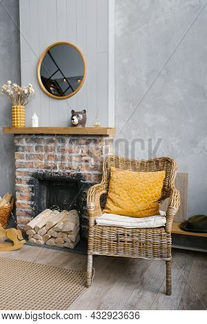 Grey Living Room And Yellow Room With Fireplace And Wooden Decor. The Style Of The Living Room Is Sc