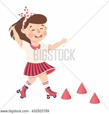 Cute Little Girl With Headband Roller Skating Practicing Sport And Physical Activity Vector Illustra