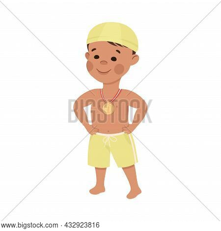 Cute Little Boy In Swimming Trunks And Hat With Medal As Sport Competition Prize Vector Illustration
