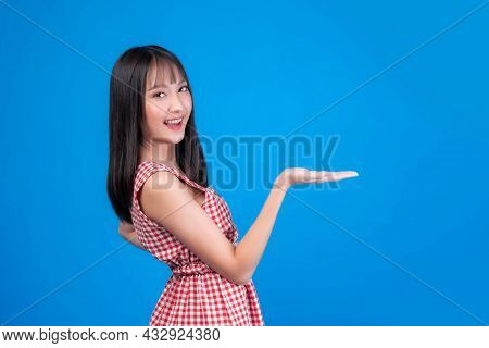 Beautiful Beauty Asian Woman Cute Girl With Bangs Hair Style In Red Dress Smile And Posing Her Empty
