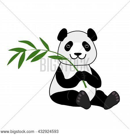 Cute Smiling Panda Bear Sitting With Bamboo Branch. Vector Cartoon Illustration Isolated On White Ba