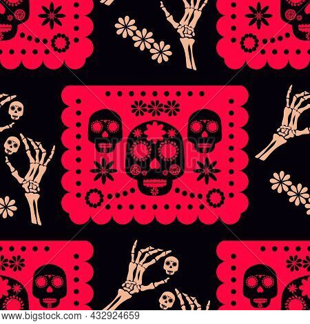 Day Of The Dead, Dia De Los Muertos, Halloween  Festive Seamless Pattern With  Skulls, Garland, Pape