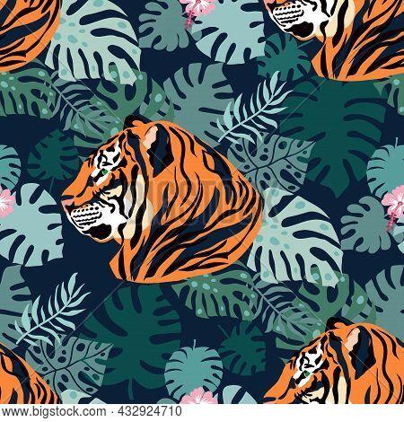 Tiger  And Tropical Plants, Flowers,  Leaves. Beautiful  Seamless Pattern  Iin Cartoon Realistic Fla