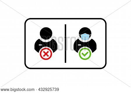 Face Mask Required Warning Prevention Sign. Human Profile Silhouette With Face Mask In Rounded Recta