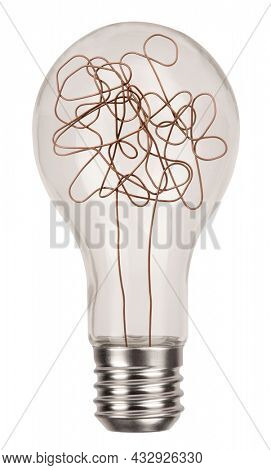 Classic incandescent light bulb with chaotic wire isolated on white background. Mind concept with symbol of complicated thinking and idea photo
