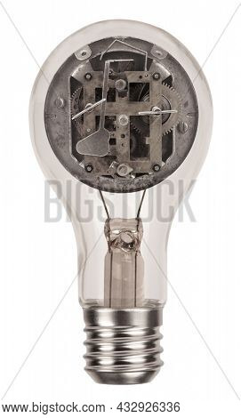 Classic incandescent light bulb with clockwork clock mechanism isolated on white background. Mind concept with symbol of thinking and idea photo