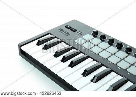 Midi Keyboard Digital Instrument Isolated On White Background