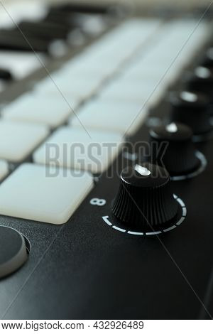Midi Keyboard All Over Background, Close Up
