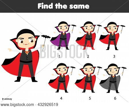 Children Educational Game. Find Same Pictures. Find Two Identical Vampires. Halloween Fun For Kids A