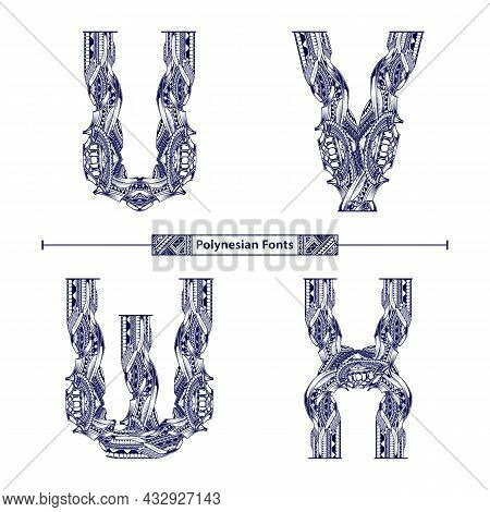 Vector Graphic Alphabet In A Set U,v,w,x, With Polynesian Tattoo Ethnic Tribal Font Style