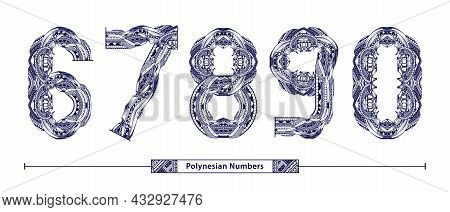 Vector Graphic Alphabet In A Set 6,7,8,9,0, With Polynesian Tattoo Ethnic Tribal Numbers Style